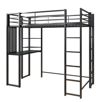 Mack Milo Aime Twin Loft Bed With Bookcase Loft Bed Frame Silver Room Black Rooms