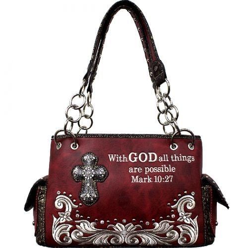 Concealed Carry Rhinestone Cross Handbag W Bible Verse 2 Colors Rhinestone Cross Concealed Carry Handbag