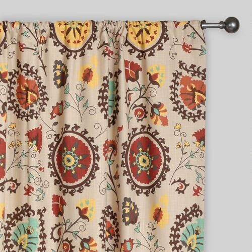 Suzani Prints Are Known For Their Intriguing And Intricate Design A Staple In Central Asia Making Our Gold And Red Curtains Curtain Patterns Printed Curtains