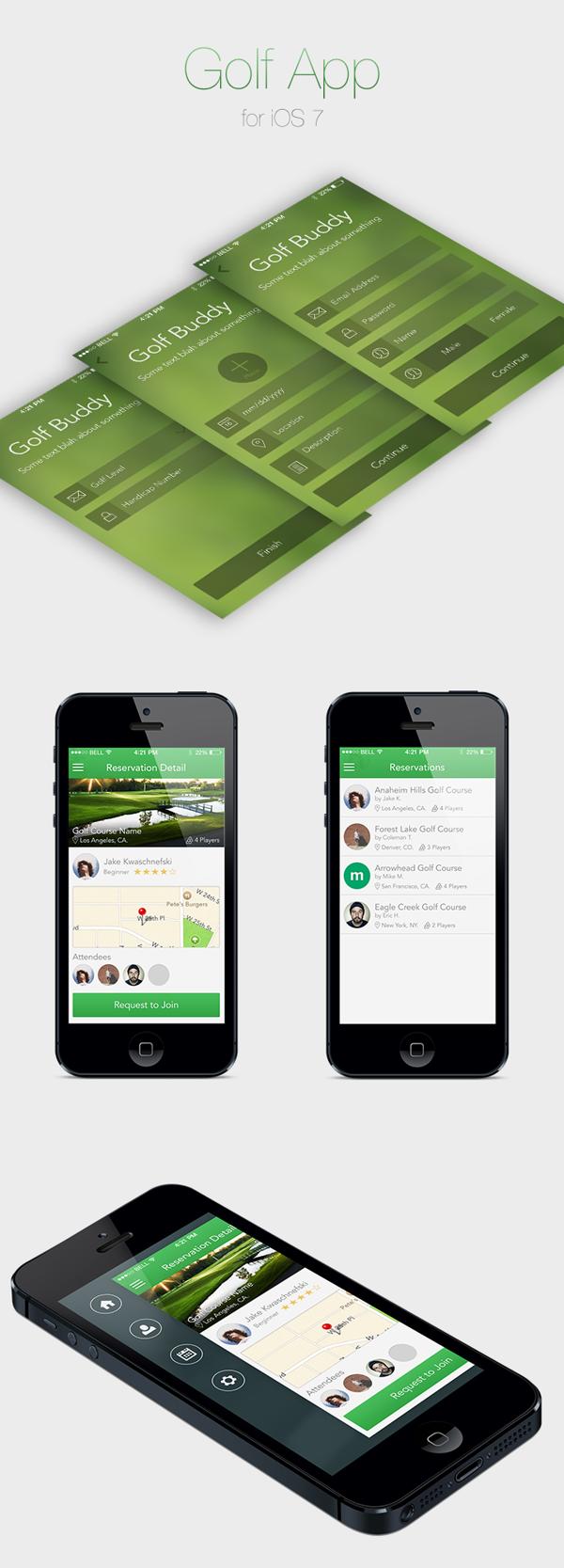 Golf App for iOS 7 on Behance Ios 7, Golf apps, App