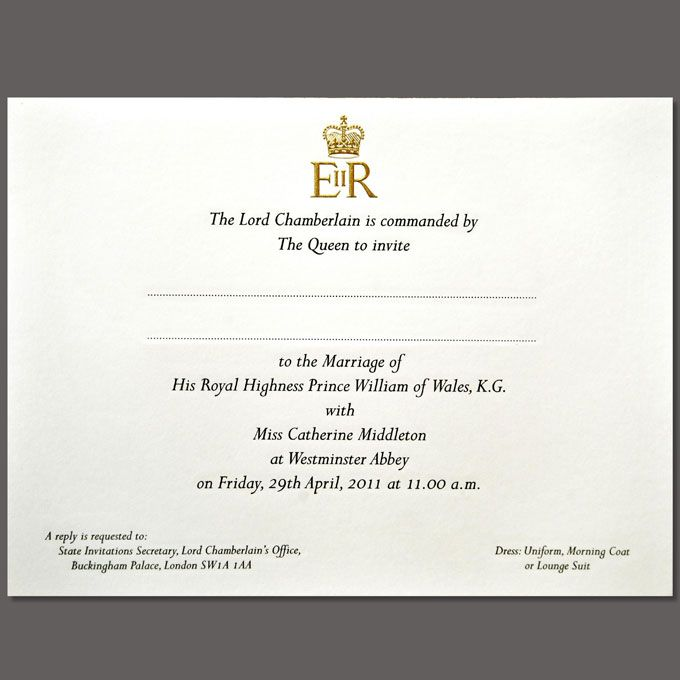 Prince William and Kate Middleton Royal Wedding Invitations
