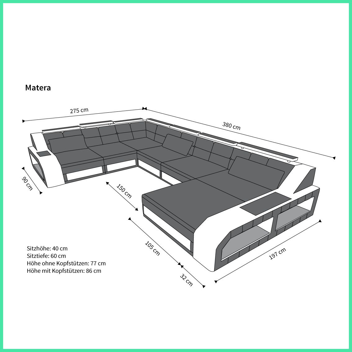12 Regelmassig U Form Ledersofa In 2020 Cool Couches Comfortable Couch Types Of Couches