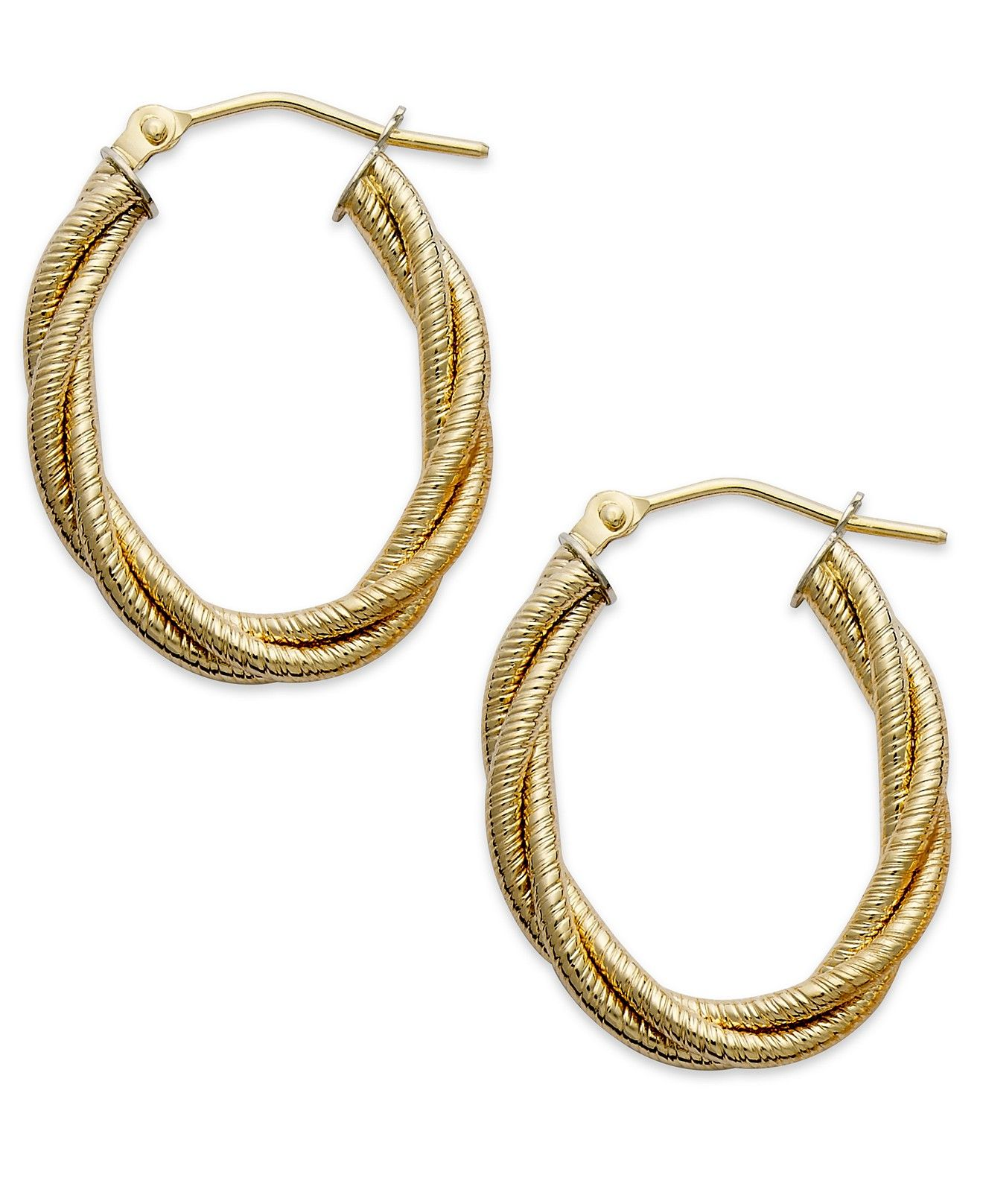 Italian Gold Textured Braided Oval Hoop Earrings in 14k Gold Gold