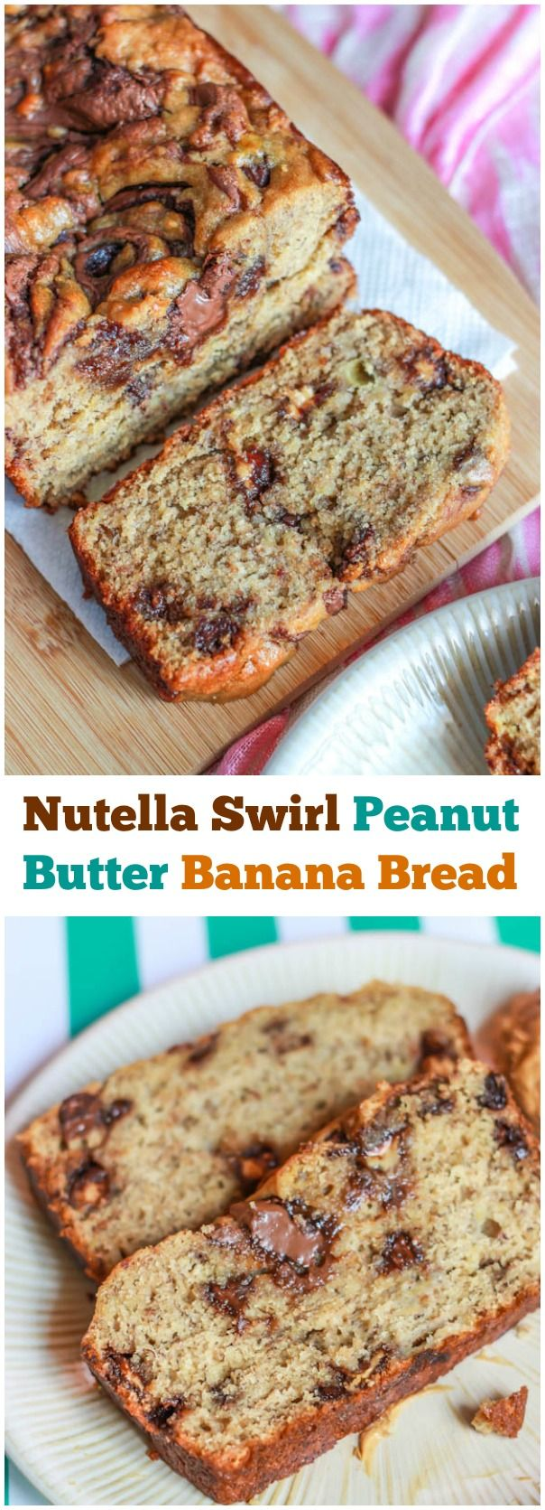 Super-moist banana bread swirled with Nutella and peanut butter cups. There wont be a crumb leftover!