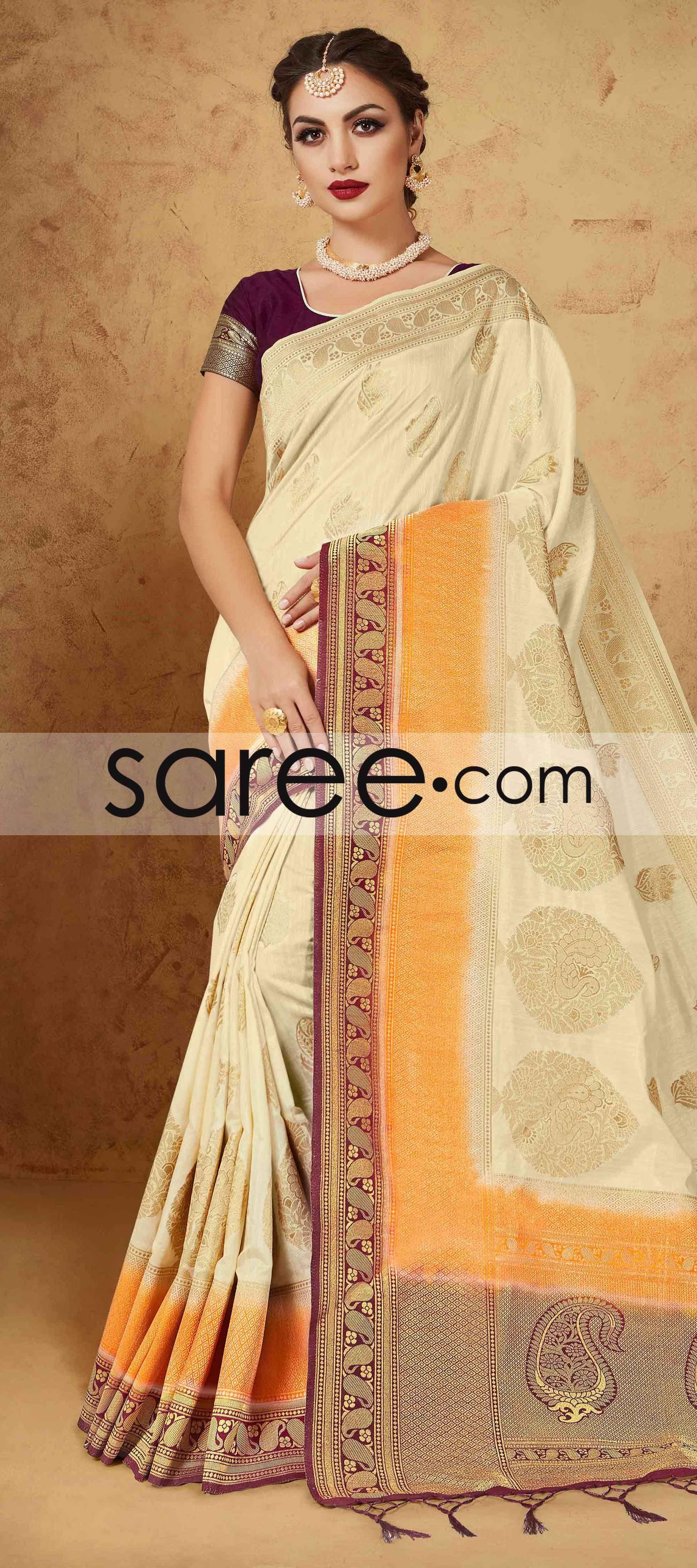 CREAM BANARASI SILK SAREE WITH ZARI  #Saree #GeorgetteSarees #IndianSaree #Sarees  #SilkSarees #PartywearSarees #RegularwearSarees #officeWearSarees #WeddingSarees #BuyOnline #OnlieSarees #NetSarees #ChiffonSarees #DesignerSarees #SareeFashion