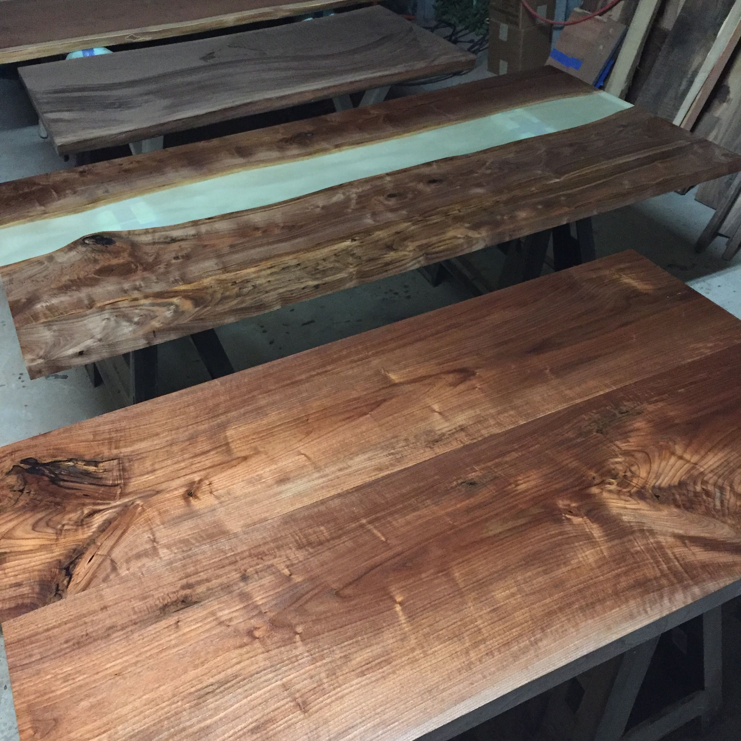 Black Walnut Table And Claro Walnut River Table By Dog And Pig