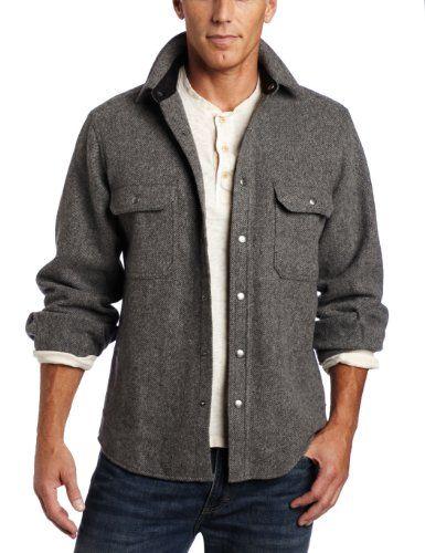 Woolrich men 39 s wool alaskan shirt new gray large for Mens wool flannel shirt