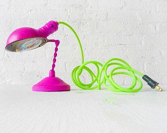 Vintage Hot Pink Lamp - Table Desk Task Light - Sconce Wall Lighting - Neon Green Yellow Color Cloth Cord - Iridescent Turbo Light Bulb