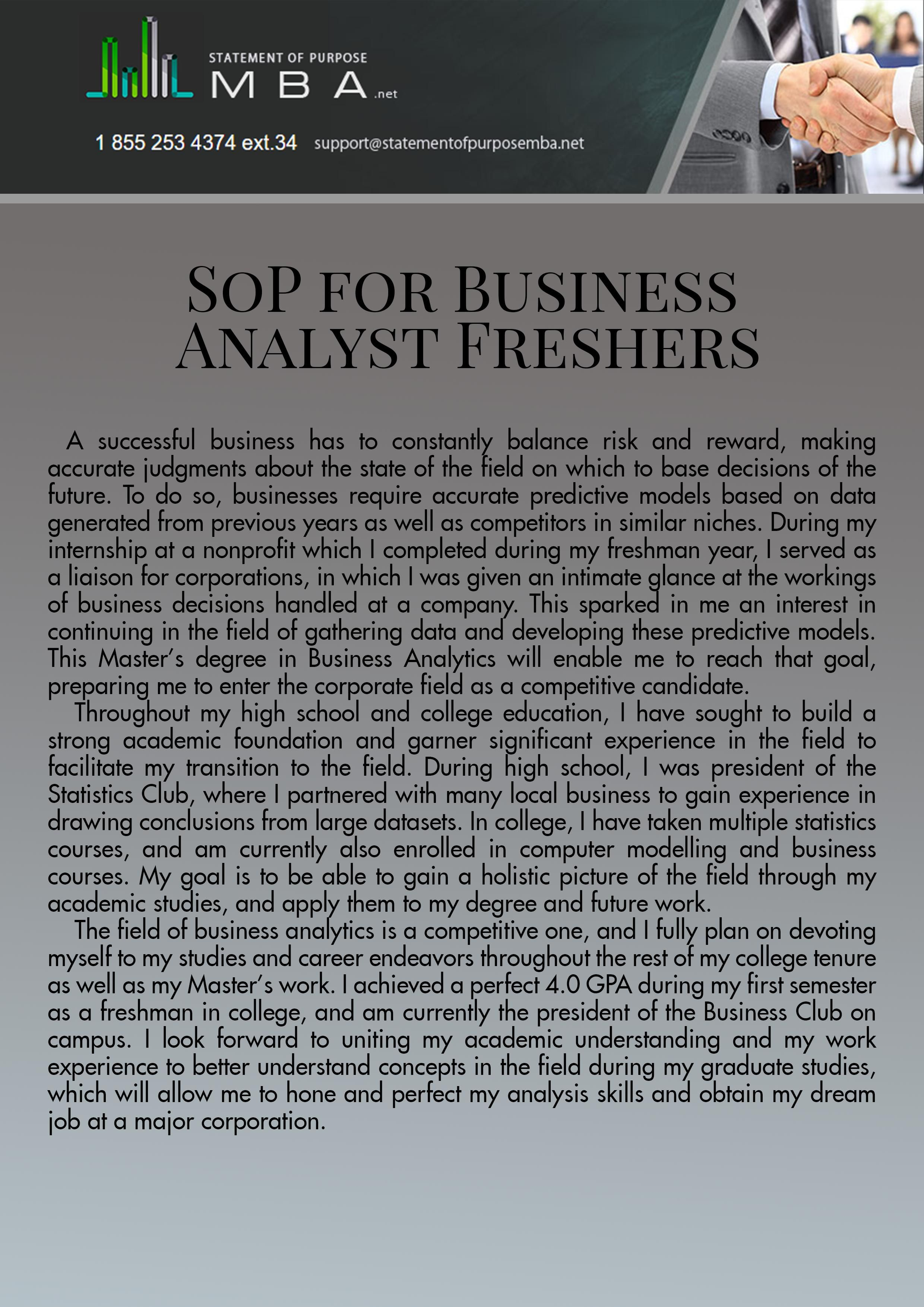 This Sop For Ms In Business Analytics For Freshers Can Get Your