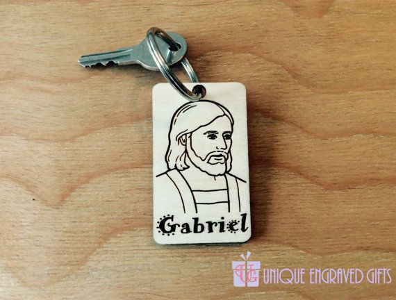 Jesus Christ Face Wooden Engraved Keychain by UniqueEngravedGifts