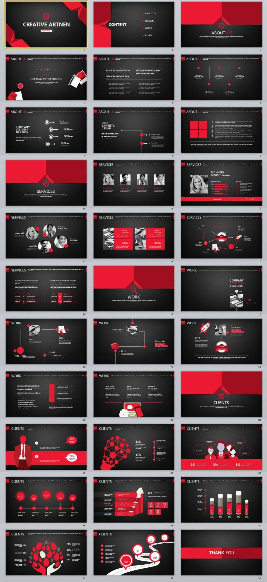 33 red black creative powerpoint template 2018 business