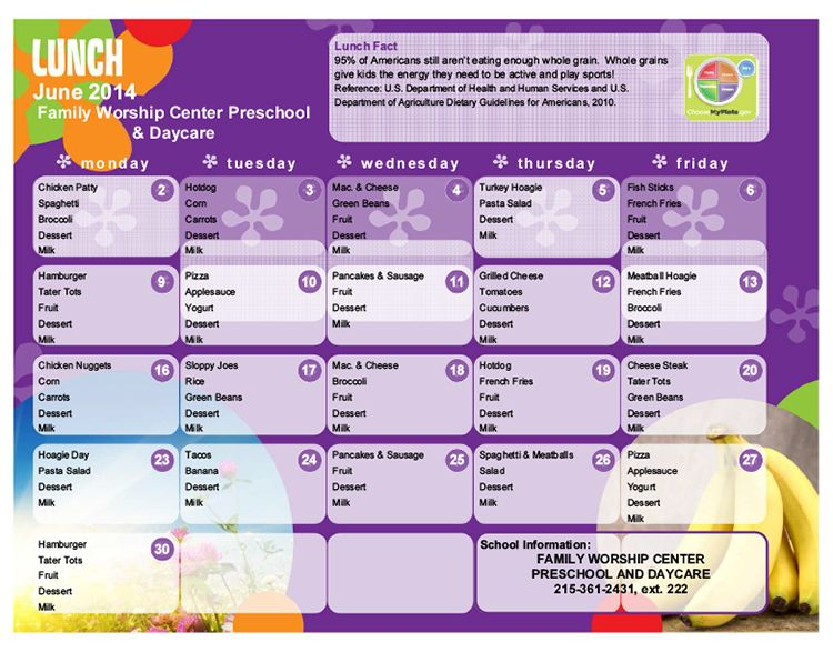 breakfast lunch and dinner menu template - usda food program day care centers food ideas