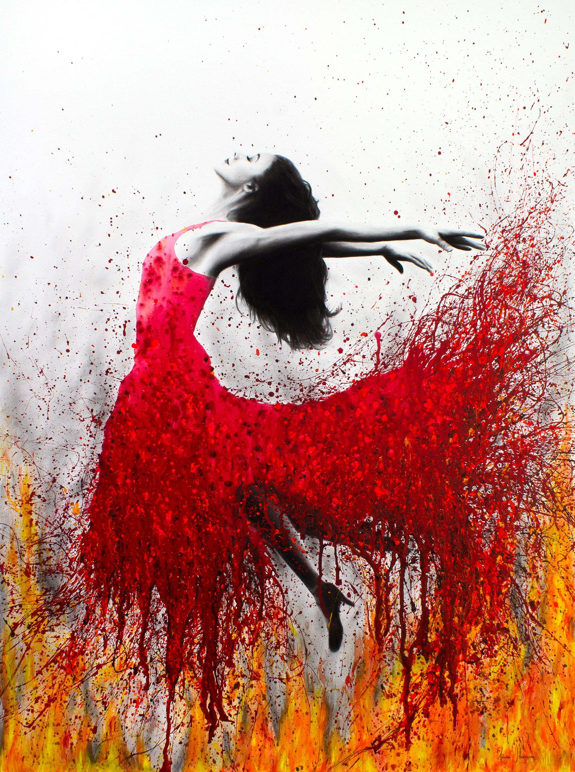A Commissioned Painting With The Mix Between My Usual Ballerina Art Pieces And A Rising Phoenix Theme I Created An Expre Flame Art Dance Paintings Dancers Art