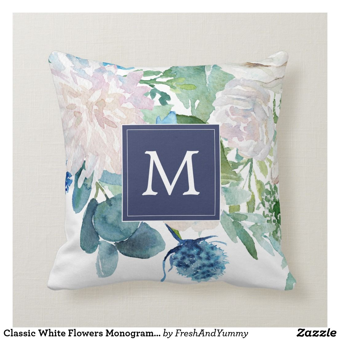 Classic White Flowers Monogrammed Throw Pillow This Classic White