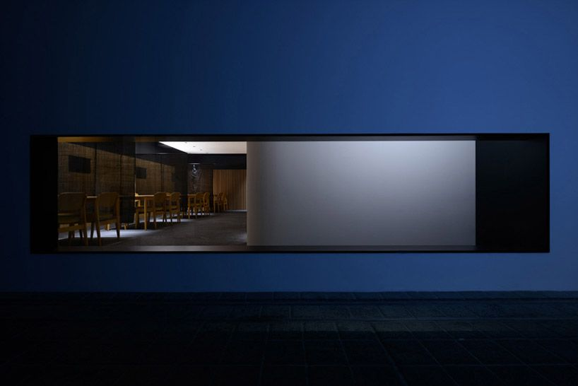 white volumes in jet black space form japanese gion by studio tands