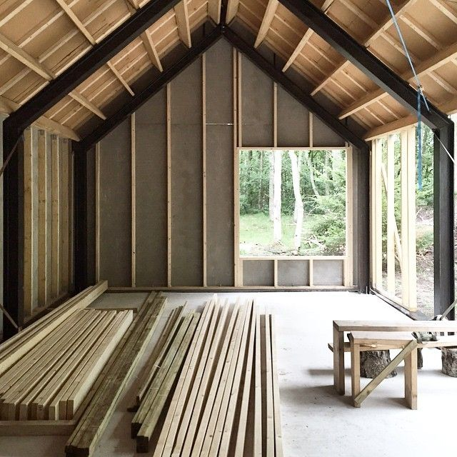 "Barnhousecabin on Instagram: ""Nice to be able to store the wood in a dry location for once... #barnhousecabin #barn #cabin #cabinporn #cabinbuild #camp #camping…"""