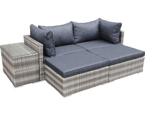 Loungeset Multi Polyrattan 4-Sitzer 5-teilig grau bei ...
