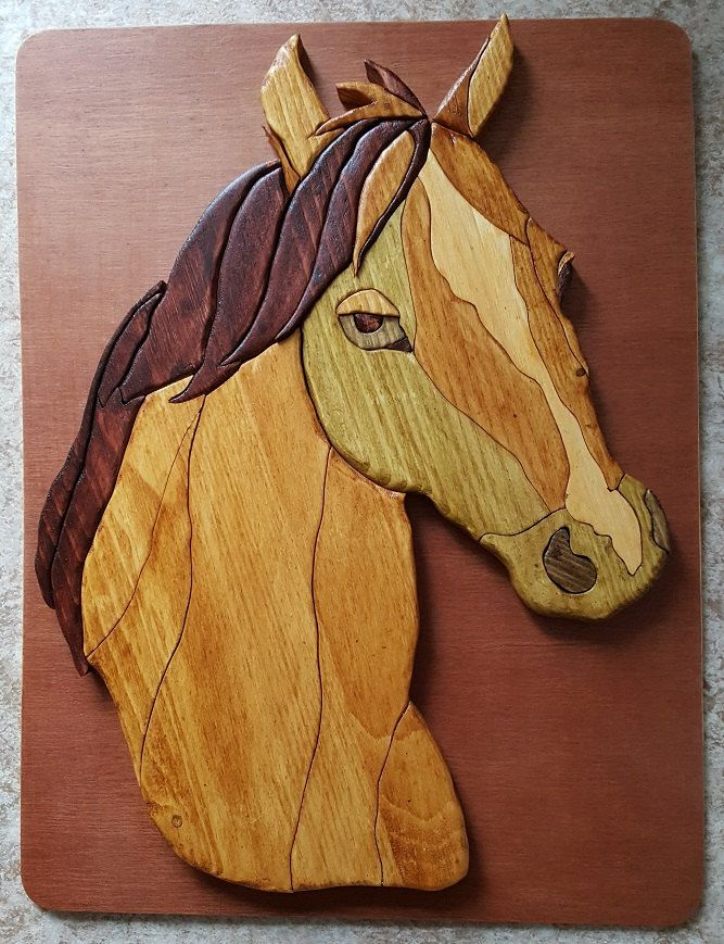 Hand Crafted Horse Head  Intarsia wall plaque by CreativeWoodenGifts on Etsy