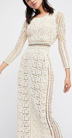 Tina's handicraft : long-sleeve crochet dress pieapple stitch #crochetdress