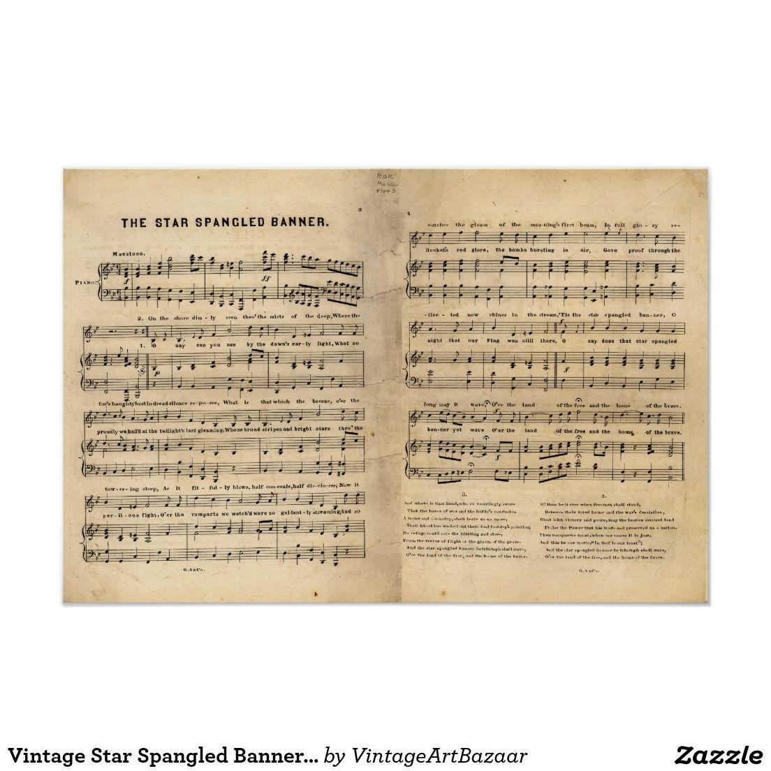 Vintage Star Spangled Banner Song Sheet Lyrics Poster Zazzle Com Lyric Poster Star Spangled Banner Song Song Sheet