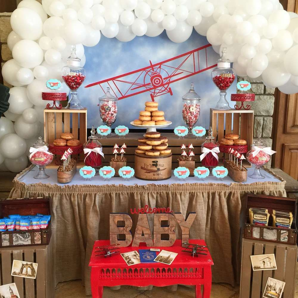 vintage airplane baby shower party ideas in 2019 | twins | pinterest