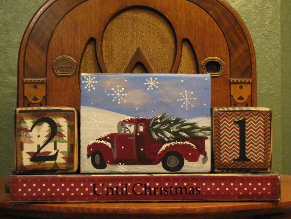 Your children and the child in you will not be able to resist these fun Christmas Countdown Blocks! A vintage truck and tree have been hand