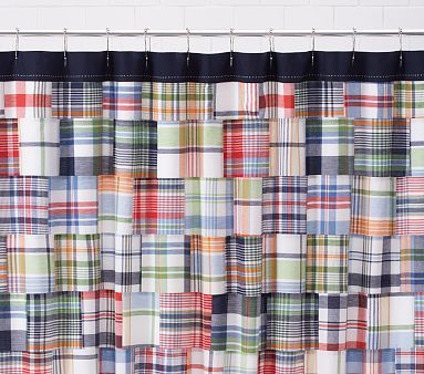 Madras Plaid Shower Curtain For The Boy S Bathroom Love All Colors In This