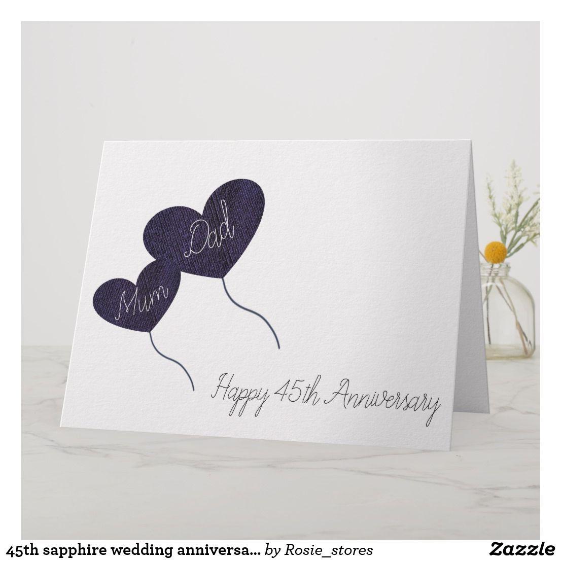 45th sapphire wedding anniversary mum & dad card Zazzle