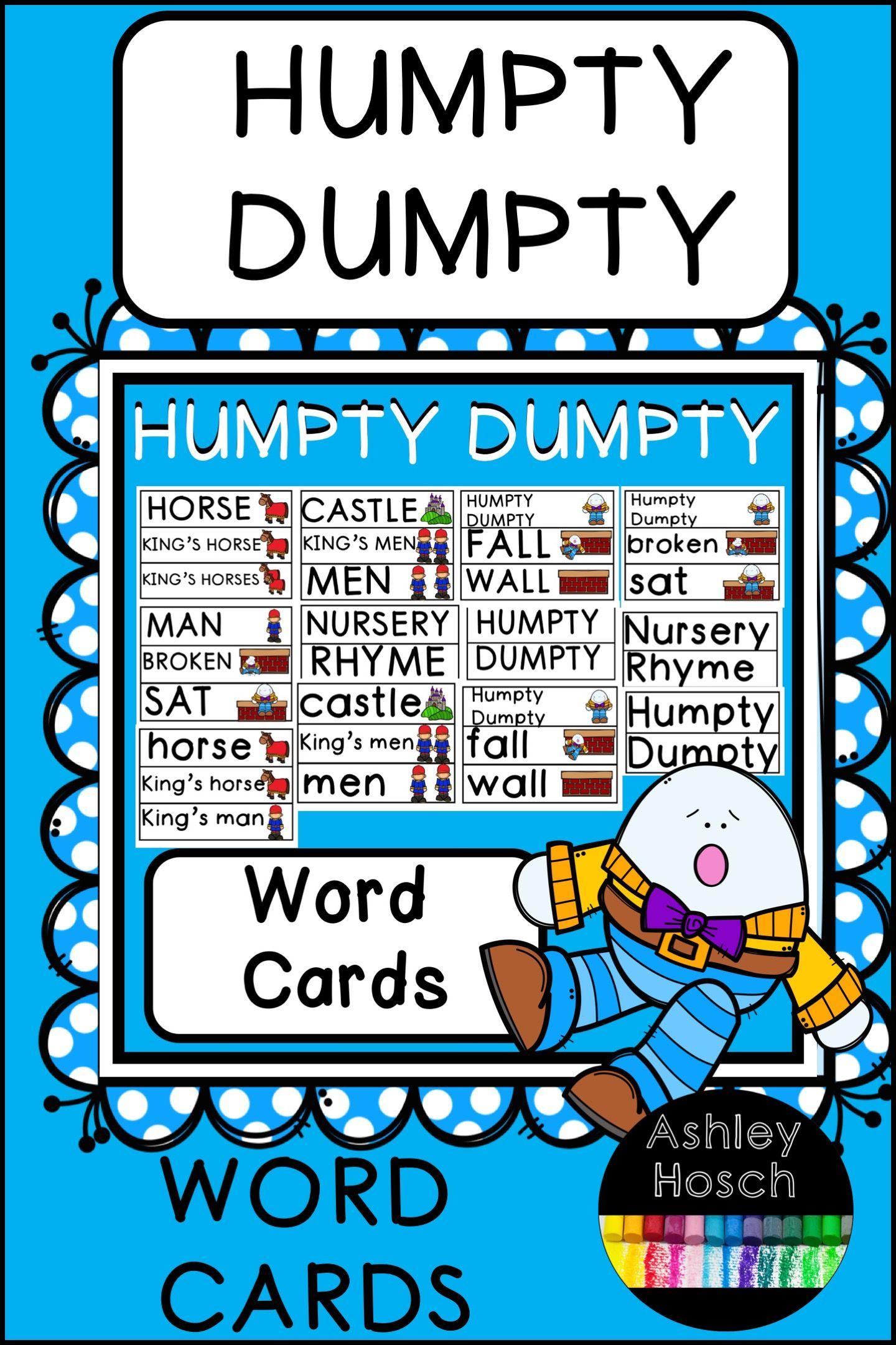 Humpty Dumpty Word Wall Words For Preschool Kindergarten