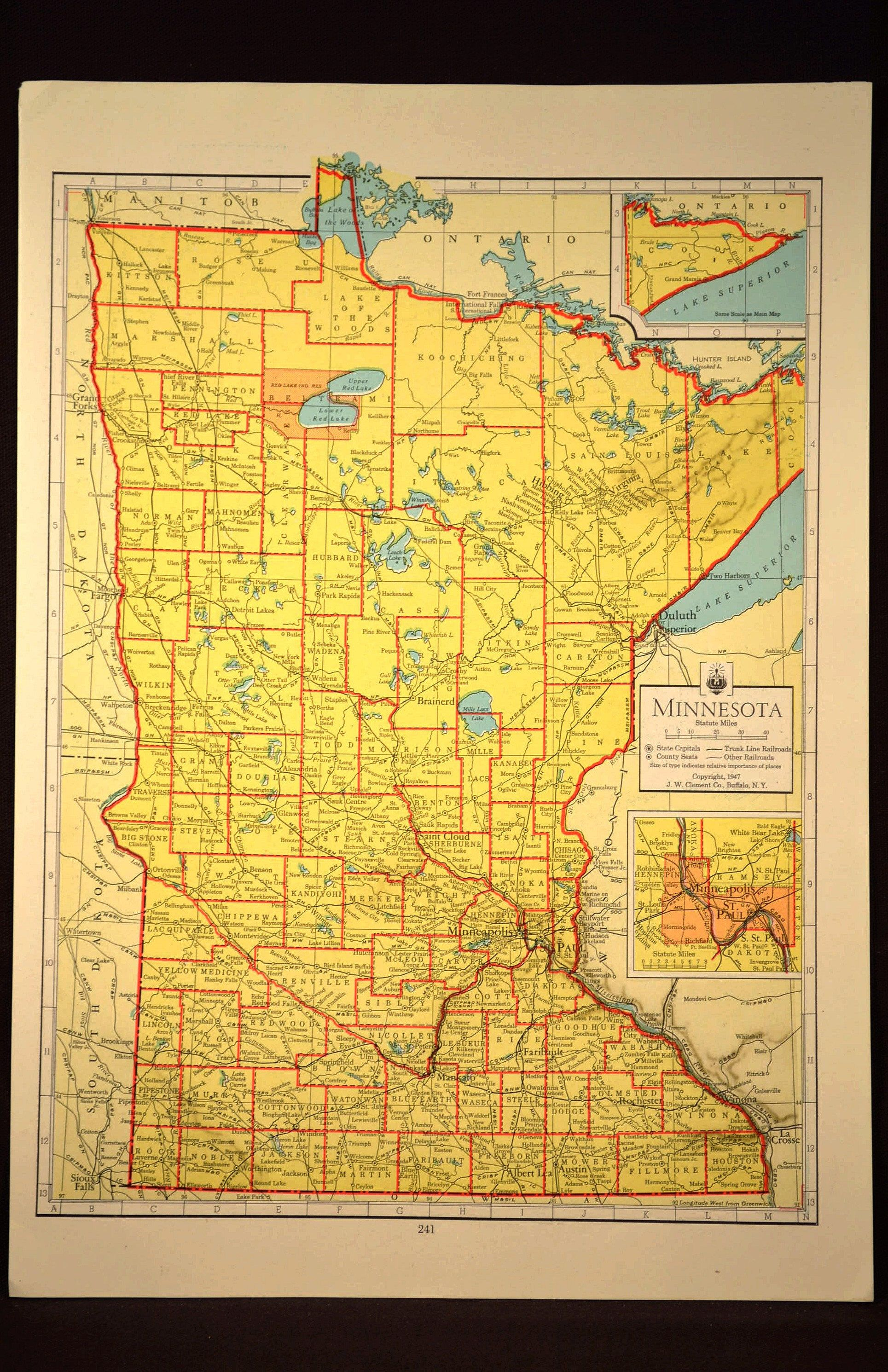 Colorful Yellow Vintage Minnesota Map Minnesota Colorful Wall Art ...