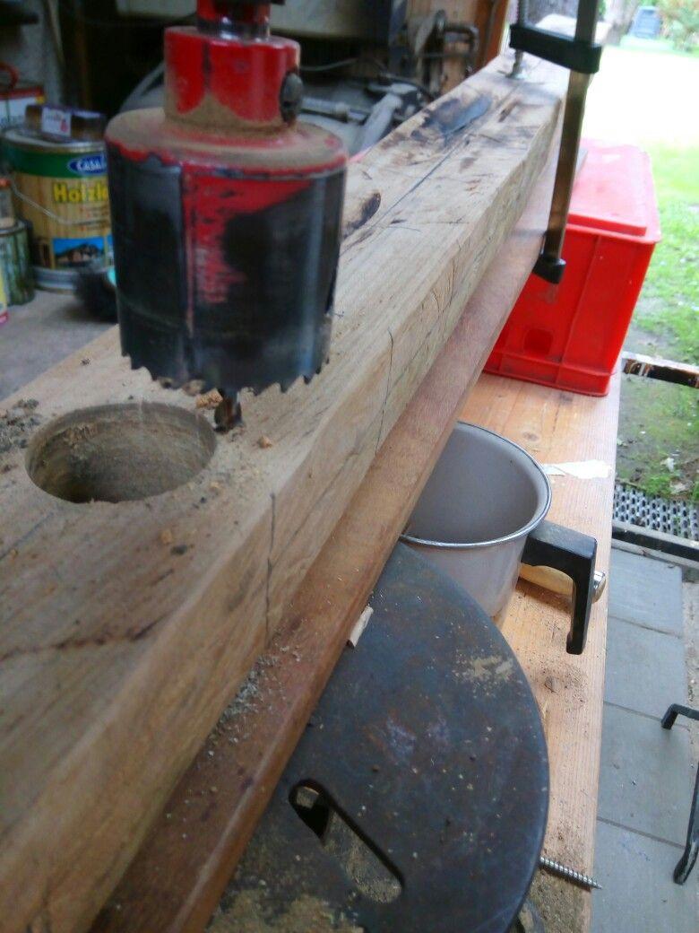 Bohren der Löcher für die Halterung im Rahmen | Klangwand oder ...
