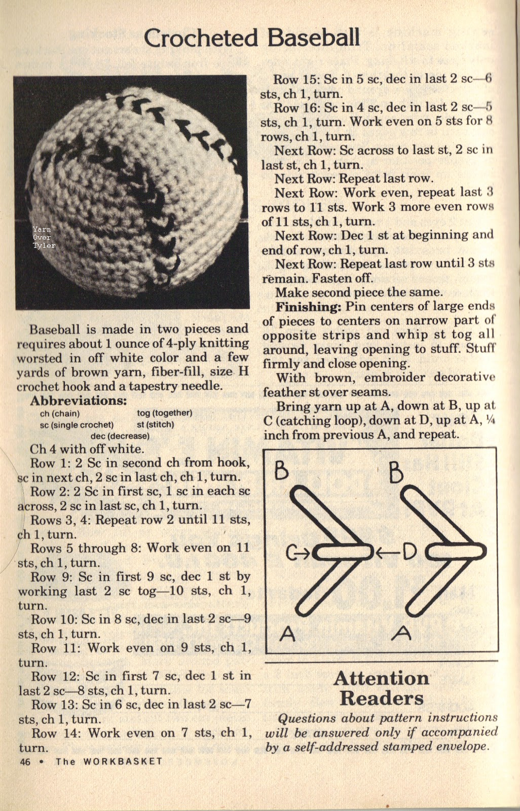 Yarn Over Tyler: Free Pattern Friday - Crocheted Baseball | Sashiko ...
