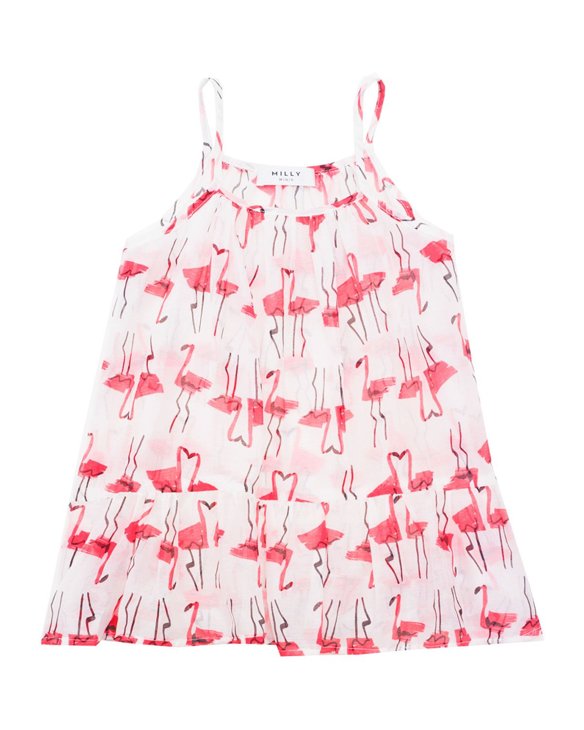 Sleeveless Woven Flamingo-Print Coverup, White/Pink, Size 8-14, Girl's, Size: 10, Multi Colors - Milly Minis