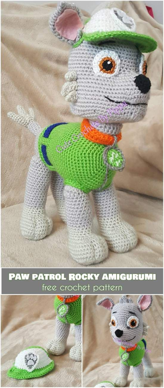 Rocky from Paw Patrol   Amigurumi Free Crochet Pattern] - Crochet animal patterns, Crochet amigurumi free patterns, Crochet projects, Crochet patterns, Crochet dog, Crochet amigurumi free - Almost every kids is fan of Paw Patrol  Friendly and helpful dogs have won the hearts of or children and are one of the most popular cartoons, so kids will love to have one of them as a toy  Please meet Rocky! For more free designs every day follow us