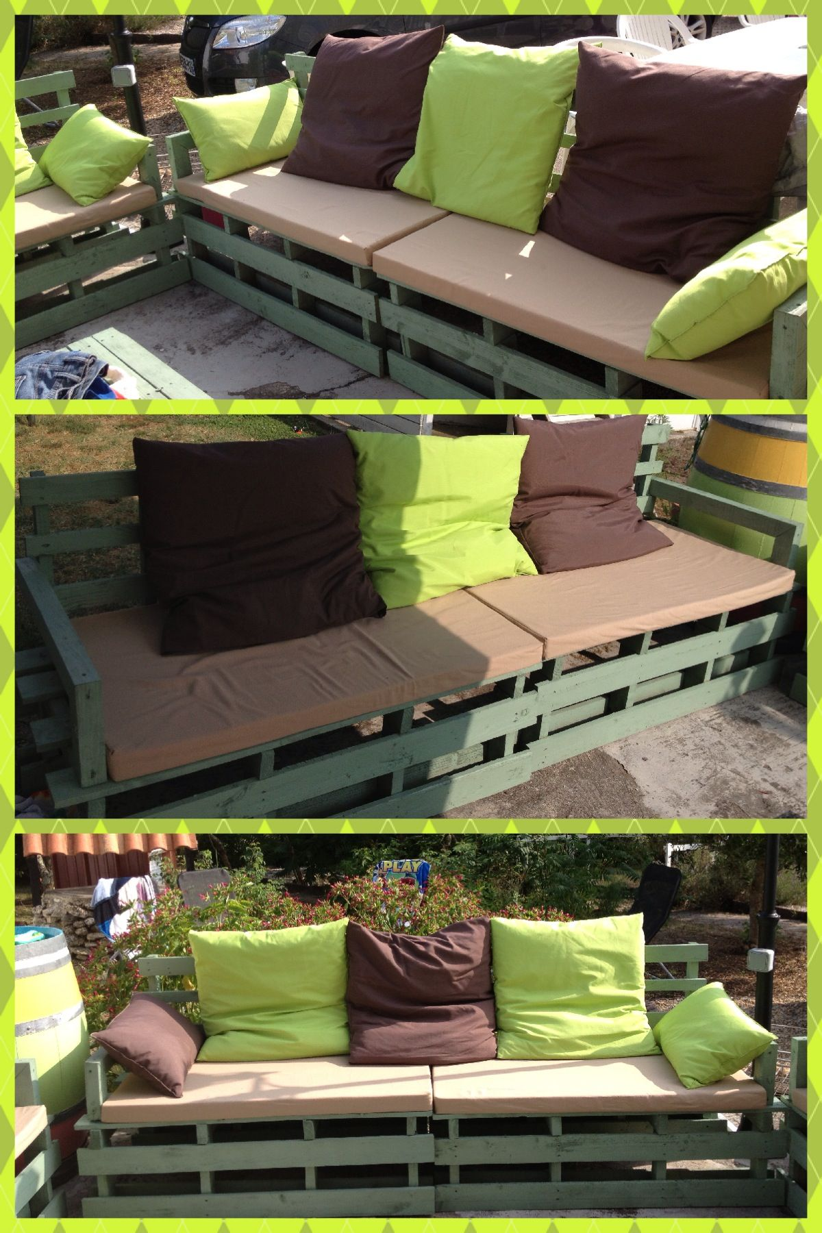 mon salon de jardin avec palette de recup 39 et coussins maison garden pinterest pallets. Black Bedroom Furniture Sets. Home Design Ideas