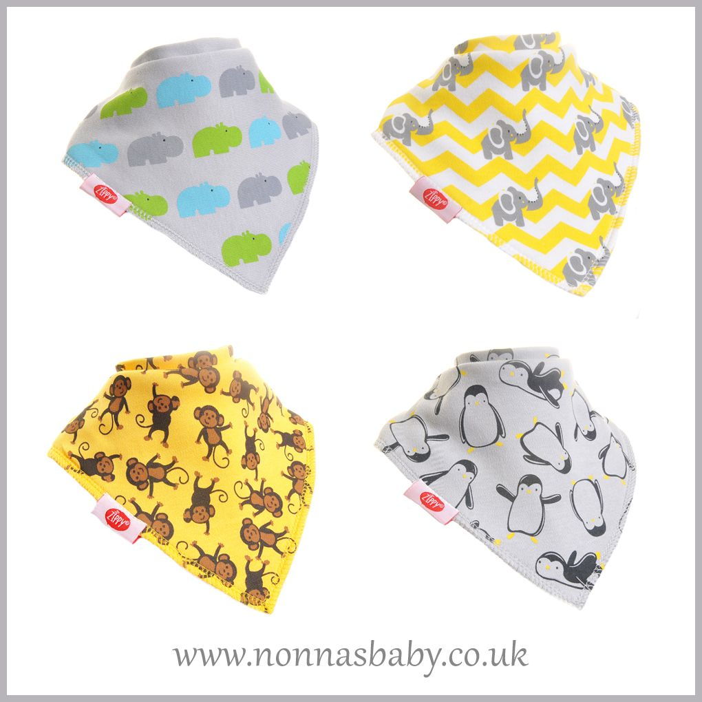 Girls Cool set, pack of 4 Zippy Fun Bandana Dribble Bibs for Baby Girls and Toddlers