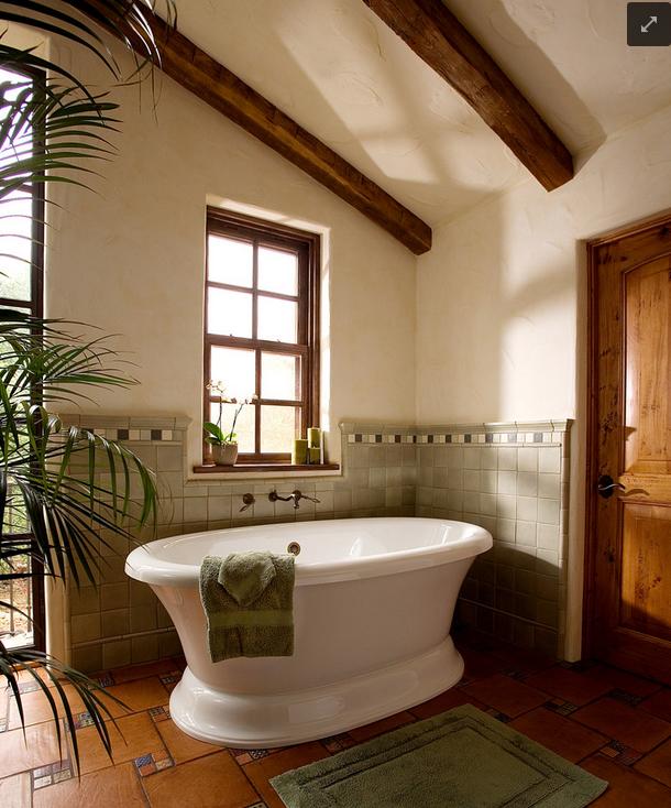 Celadon And Wood Color Way Mediterranean Bathroom Mediterranean Bathroom Design Ideas Spanish Style Bathrooms