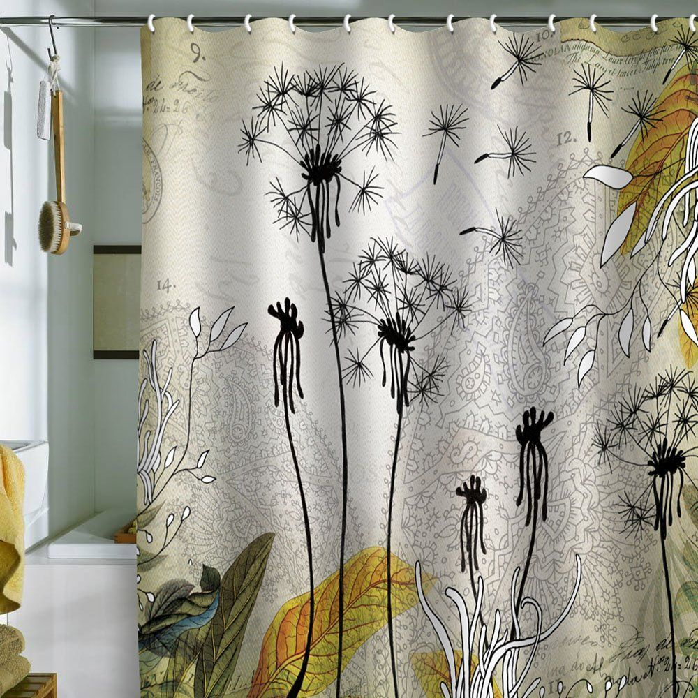 Bathroom,Beautiful Shower Curtains Modern Designs With White Silk Cloth  Also Gorgeous Coconut Tree Screen Painting And Golden Palm Leaf  Style,Awesome ...