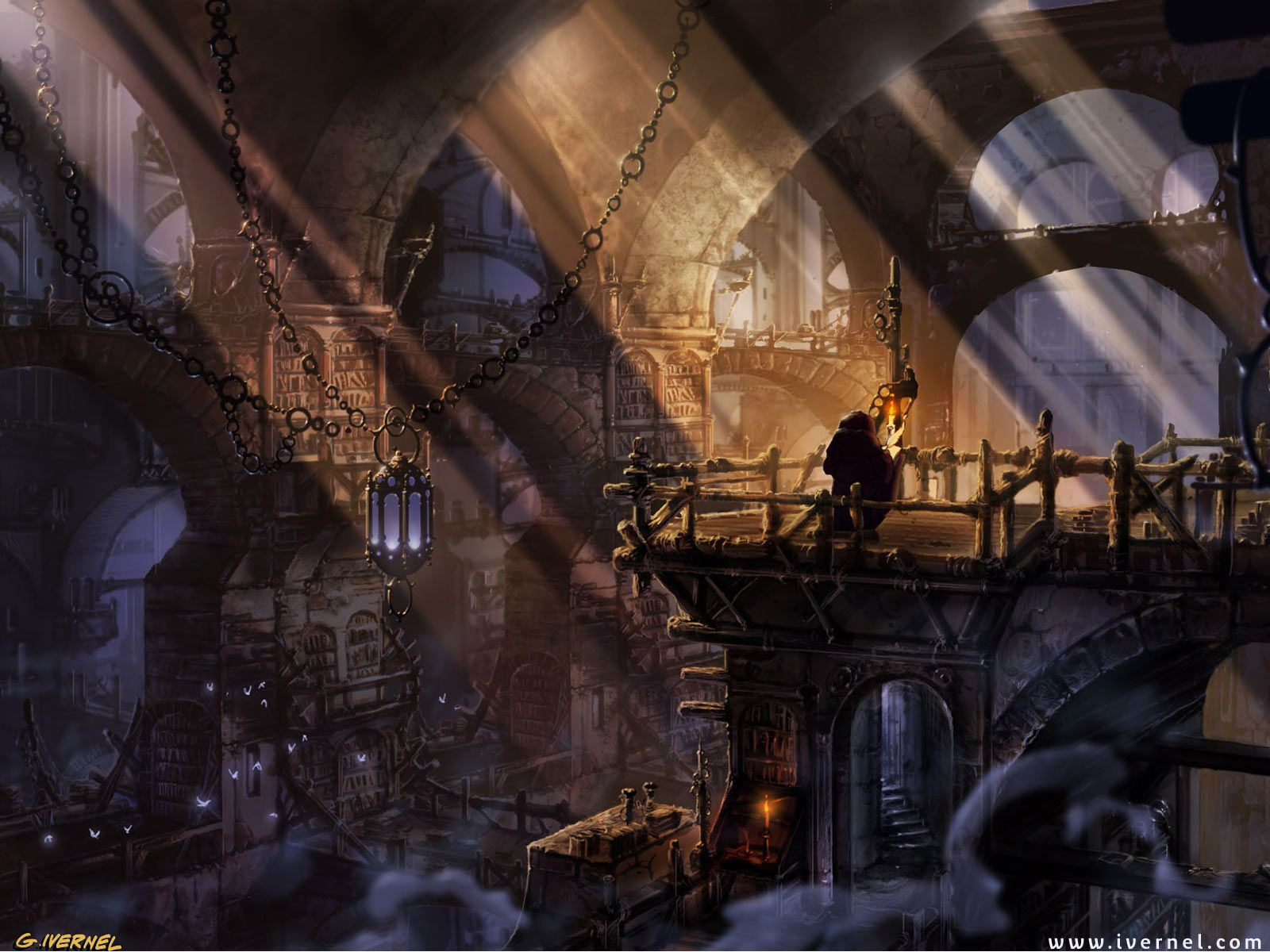 http://images5.fanpop.com/image/photos/28300000/Libraries ... Fantasy Library Wallpaper