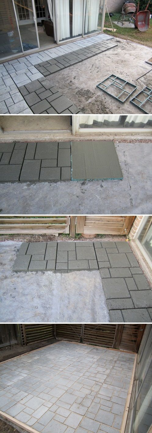 cement patio that looks like cement brick pavers using cement and molds outside pinterest. Black Bedroom Furniture Sets. Home Design Ideas