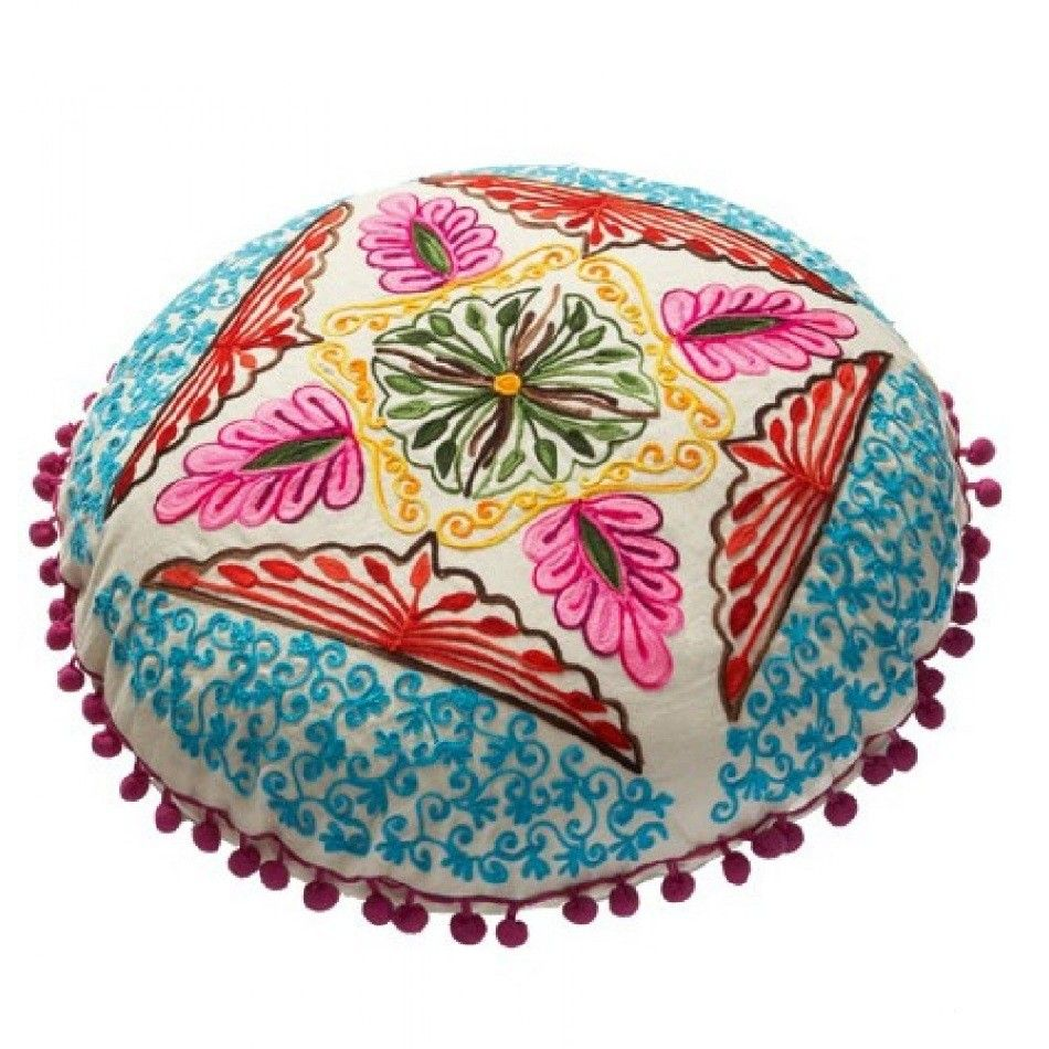 white and blue round embroidered gypsy caravan cushions. Black Bedroom Furniture Sets. Home Design Ideas