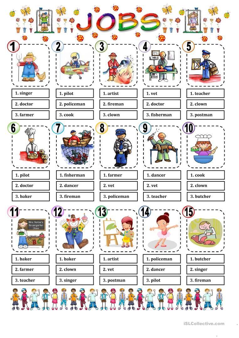 JOBS MULTIPLE CHOICE worksheet Free ESL printable worksheets