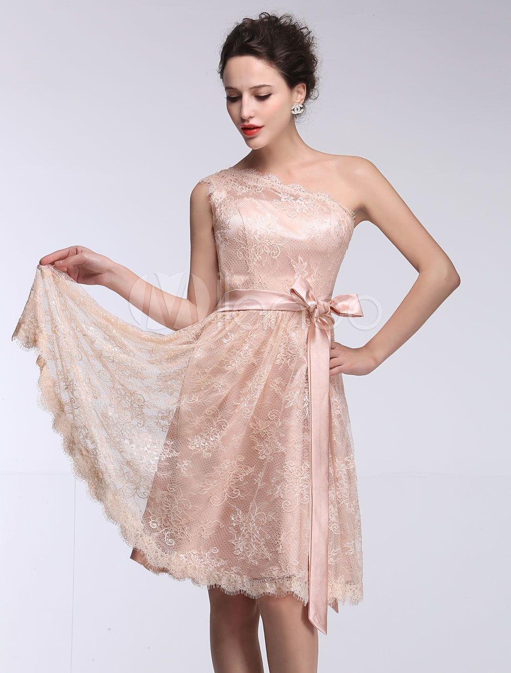 83995bcb3338 Pink Bridesmaid Dress Lace One Shoulder Short Prom Dress Sleeveless A Line  Ribbon Bow Sash Knee Length Party Dress #Shoulder, #Short, #Prom