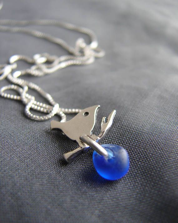 Little Bird sea glass necklace in cobalt blue Sea Glass Jewelry by