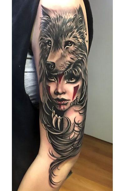 fe09a1505370f A tattoo of the wolf headdress on beautiful girl's head. Style: Realistic.  Color