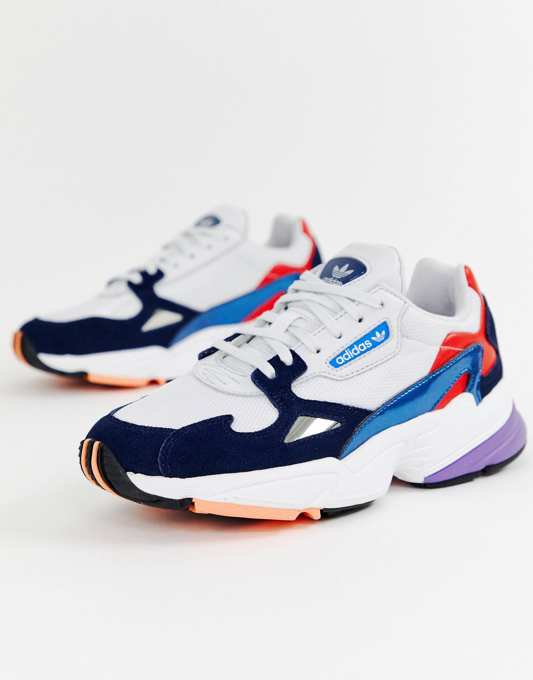 ef124b78c57 adidas Originals white and navy Falcon sneakers in 2019   Shoes ...