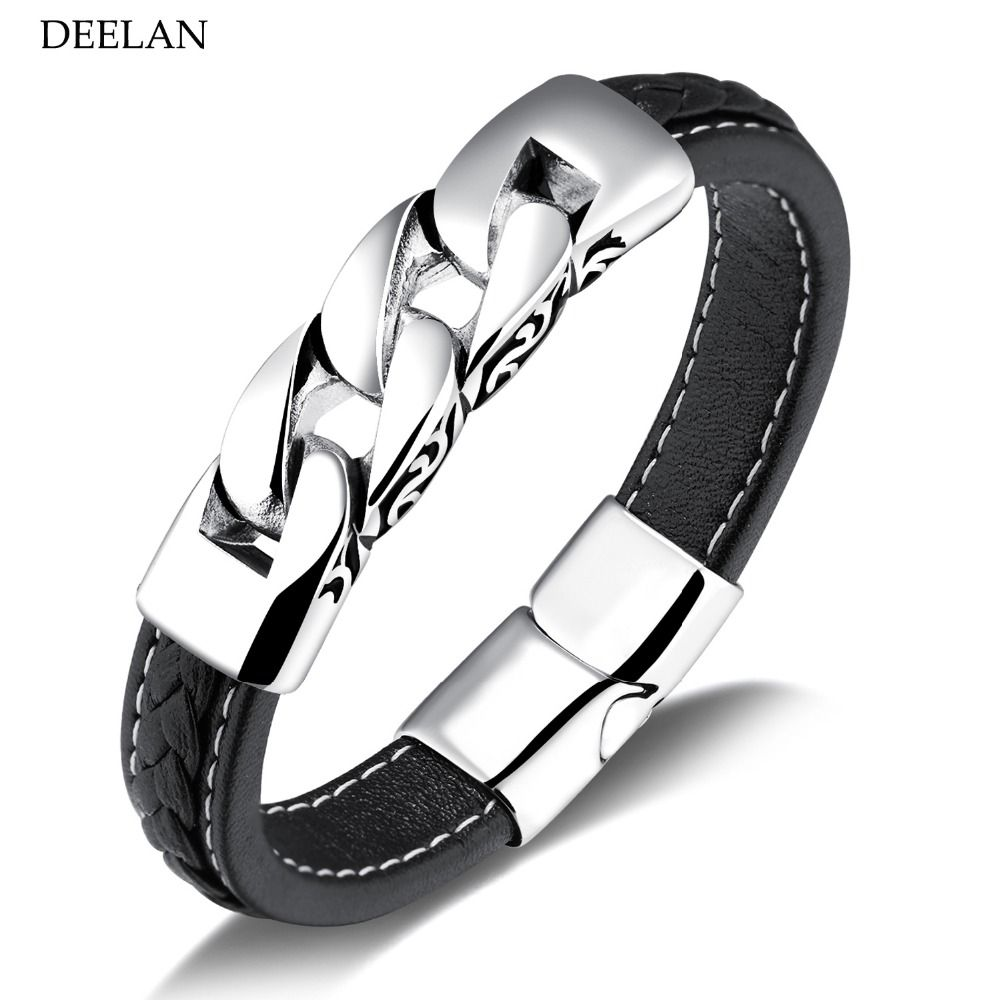 Unique leather men bracelets stainless steel chain magnet buckle