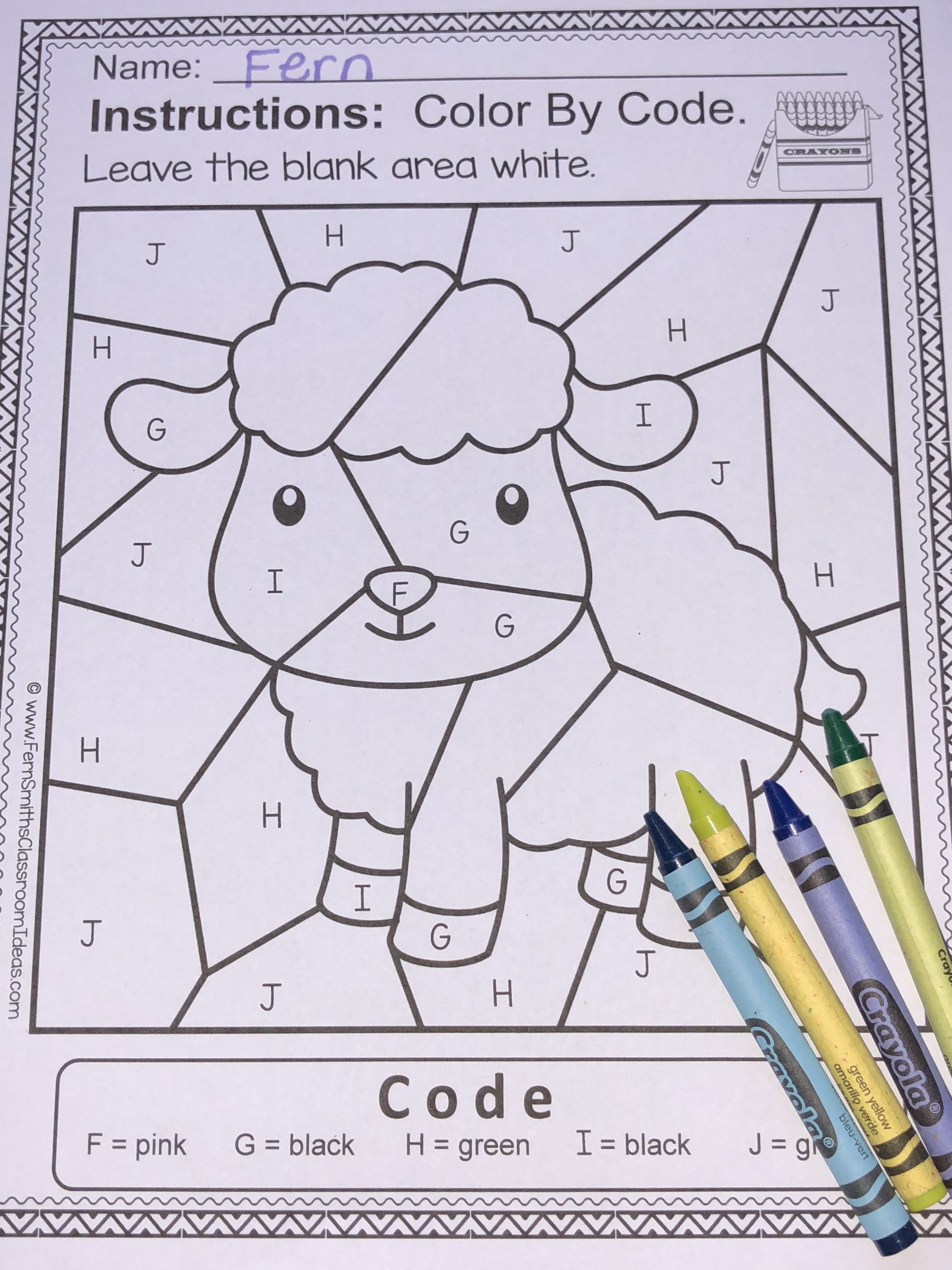 Alphabet Color By Code With Mary Had A Little Lamb For