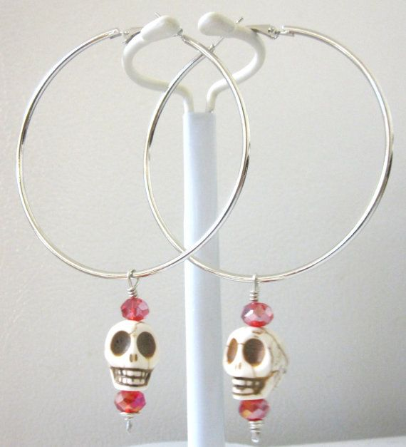 Sugar Skull Hoop Earrings White Red Huge Hoop by sweetie2sweetie
