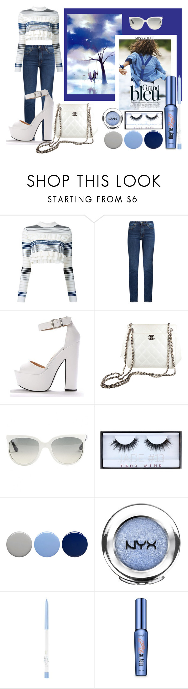 """""""Stripes And Frills!"""" by lheijl ❤ liked on Polyvore featuring GE, STELLA McCARTNEY, M.i.h Jeans, Chanel, Ray-Ban, Huda Beauty, Burberry, NYX and Benefit"""